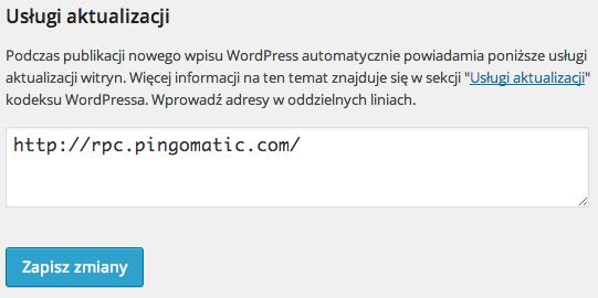 Pingowanie WordPress - szybka indeksacja w Google